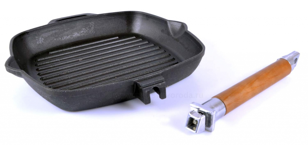 Сковорода 28 см, ручка дерево, чугун - купить в интернет-магазине industry-shop.ru